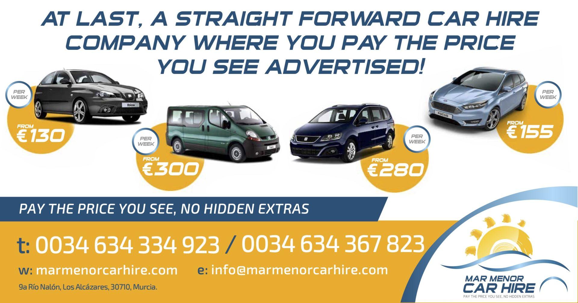 Mar Menor Car Hire Company for Sale